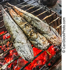 Close up Traditional Charcoal Roasted or Grilled Catfish on...