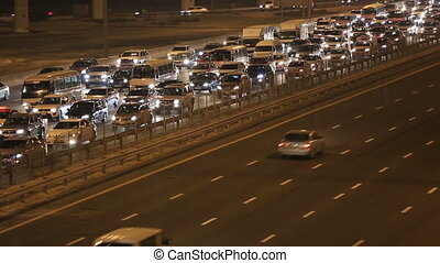 close up traffic jam on the Sheikh Zayed Road in Dubai...