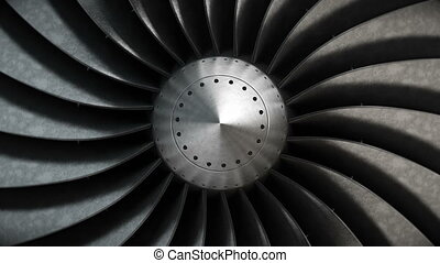 Close-up turbine engine front-end fan. - 4K loopable...