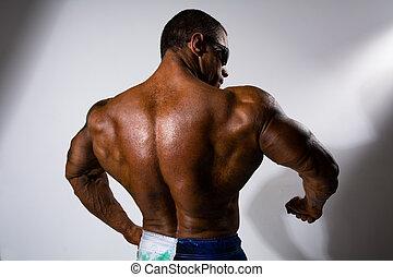 close-up, um, fiar, de, muscular, man.