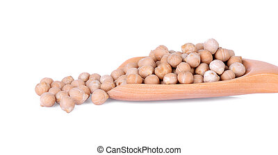 Close-up uncooked chickpeas in wooden spoon on white background.
