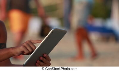 close up using digital tablet