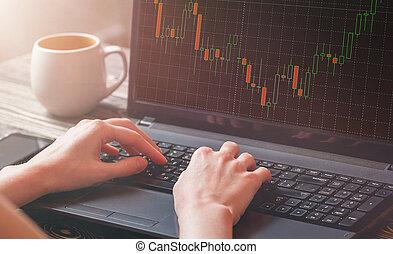 close-up, van, een, beursmarkt, broker's, vrouwelijke hand, analyzing, grafiek, op, laptop.