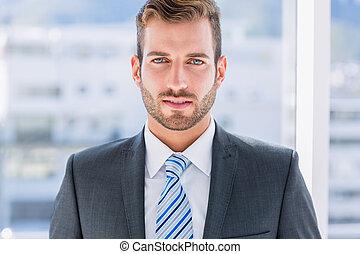 close-up, van, een, mooi, jonge, zakenman