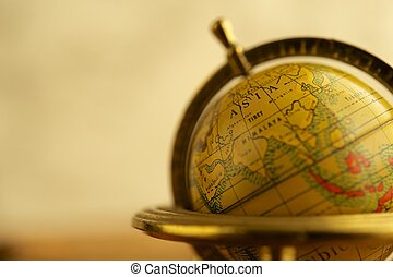 close-up, van, een, ouderwetse , globe