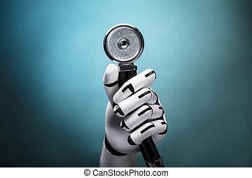 close-up, van, een, robot's, hand houdend, stethoscope