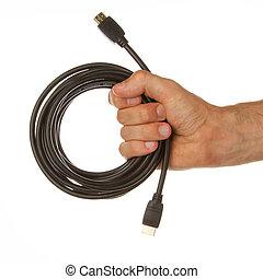 close-up, van, hdmi, kabel, in, een, hand