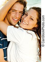close-up, van, het glimlachen, paar
