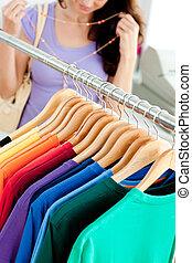 close-up, van, kleren, met, een, vrouwlijk, klant