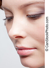 close-up, van, mooie vrouw