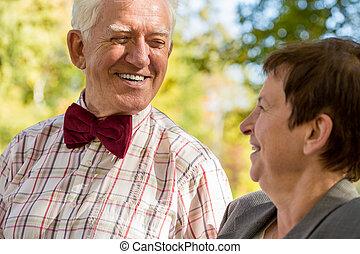 close-up, van, oudere man