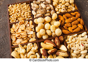 Close up variety of nuts in wooden box