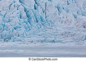 close-up Vatnajokull glacier surface at Fjallsarlon lagoon