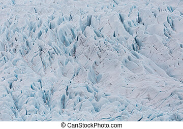 close-up Vatnajokull glacier surface with crevasses