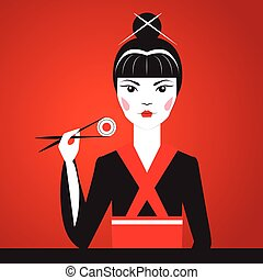 Close-up vector portrait of Oriantal femme fatale in a black...