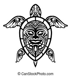 Close up Vector Turtle Polynesian Tattoo - Cool Vector...