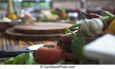 Close up vegetables composition on wooden table. Fresh vegetable for mediterranean cooking. Delisious ingredients for italian pasta, pizza. Healthy and diet food. Cooking and food preparation.