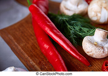 Close-up vegetables for healthy cooking, selective focus, shallow depth of field.