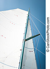 close-up, velejando, cordas, vela, iate, tecido, pano, mastros, tri-yacht, branca, ou, bote