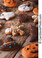 close-up, verticaal, halloween, peperkoek, tafel.