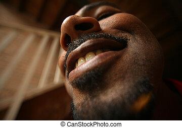 close-up, verticaal, van, een, man