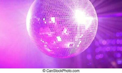Close- up video of mirror ball