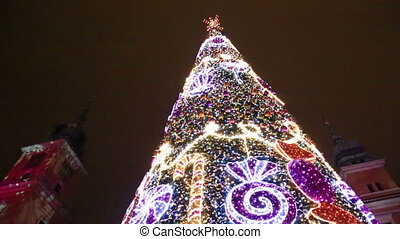 Close up view at Christmas tree, Castle Square in Warsaw -...