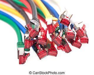 Close-up view of a bunch of colorful Ethernet patch cables isolated on white