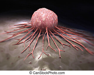 Close-up view of a cancer cell