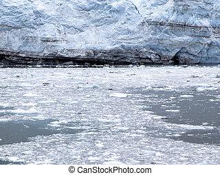 Close Up View Of A Glacier Wall And Icy Water, Alaska
