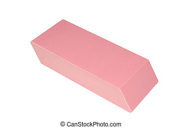 Close-up View of a Large Pink Eraser Isolated on White