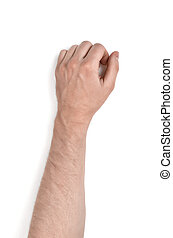 Close up view of a man's hand, isolated on white background