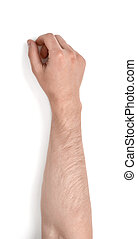 Close up view of a man's hand isolated on white background