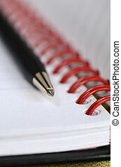 Close up view of a notebook
