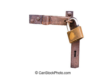 Close up view of a padlock on white isolated background