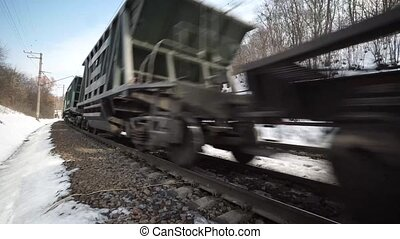 Close up View of a Passing Cargo Train