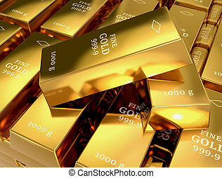 gold bars - close up view of a stack of gold bars (3d...