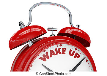 wake up - close up view of a vintage alarm clock with the...