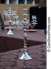 vintage silver candelabrum - Close up view of a vintage...