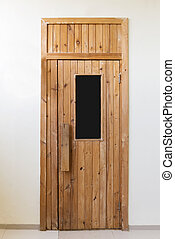 Close up view of a wooden door