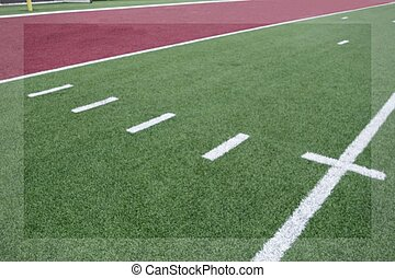 close up view of an american football field