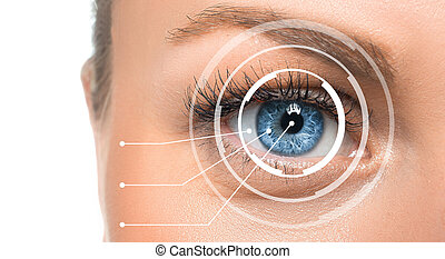 Close up view of an eye of a woman with digital marks.