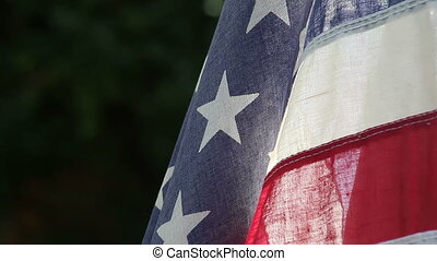 American flag with copy space - close up view of an old...