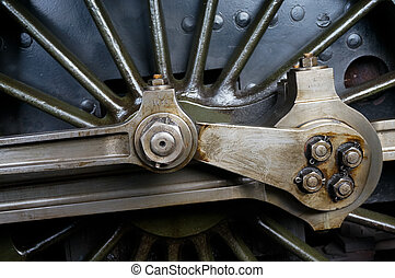 Close-Up view of an Old Steam Train Wheel at Sheffield Park