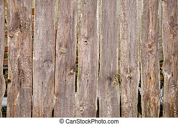 Close-up view of an old wooden fence with gaps
