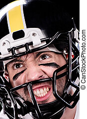 angry man american football player in helmet looking away