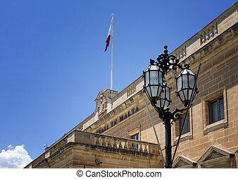 Close up view of Auberge de Castille in Valletta, Malta. It...