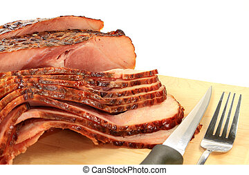 Close-up view of Backed Spiral-cut Ham - Close-up view...