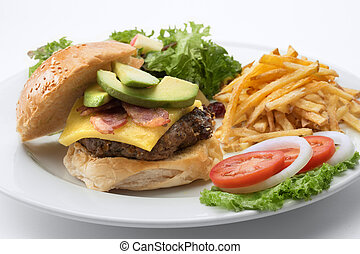close up view of big fat burger on white background