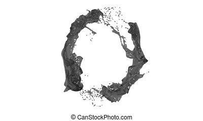 black liquid circle on white background